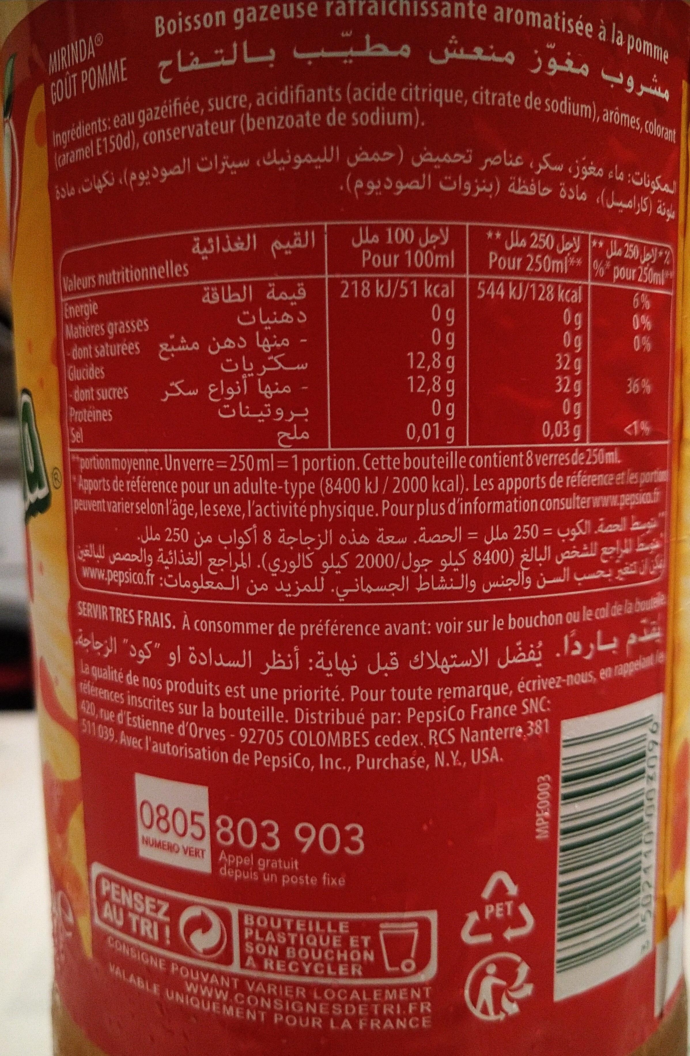 Mirinda Boisson gazeuse goût pomme 2 L - Informations nutritionnelles - fr