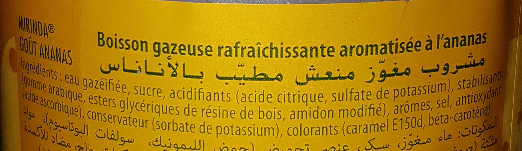 Mirinda Boisson gazeuse goût ananas 2 L - Ingredienti - fr