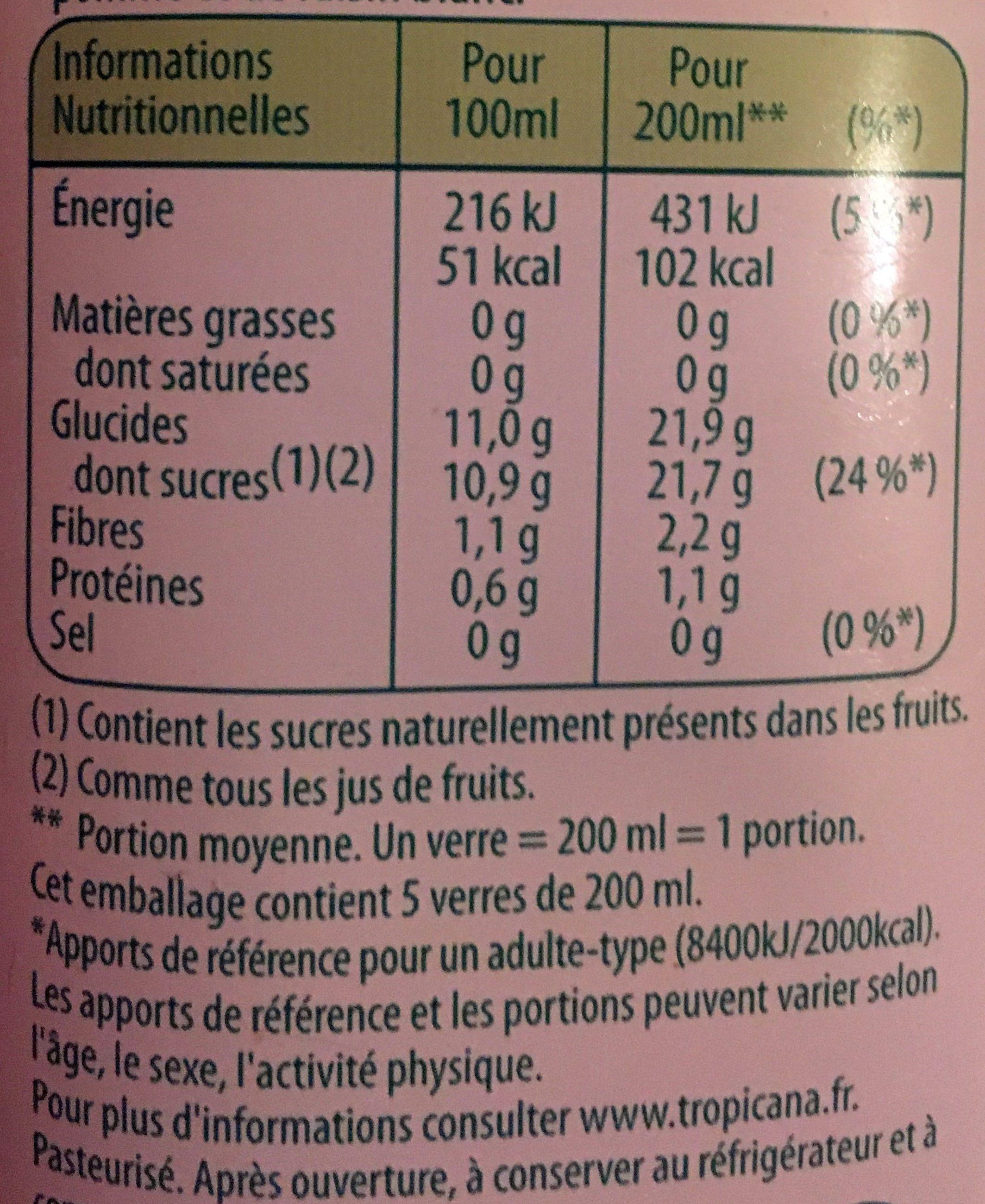 Pure Premium Réveil fruité 100% pur jus - Nutrition facts