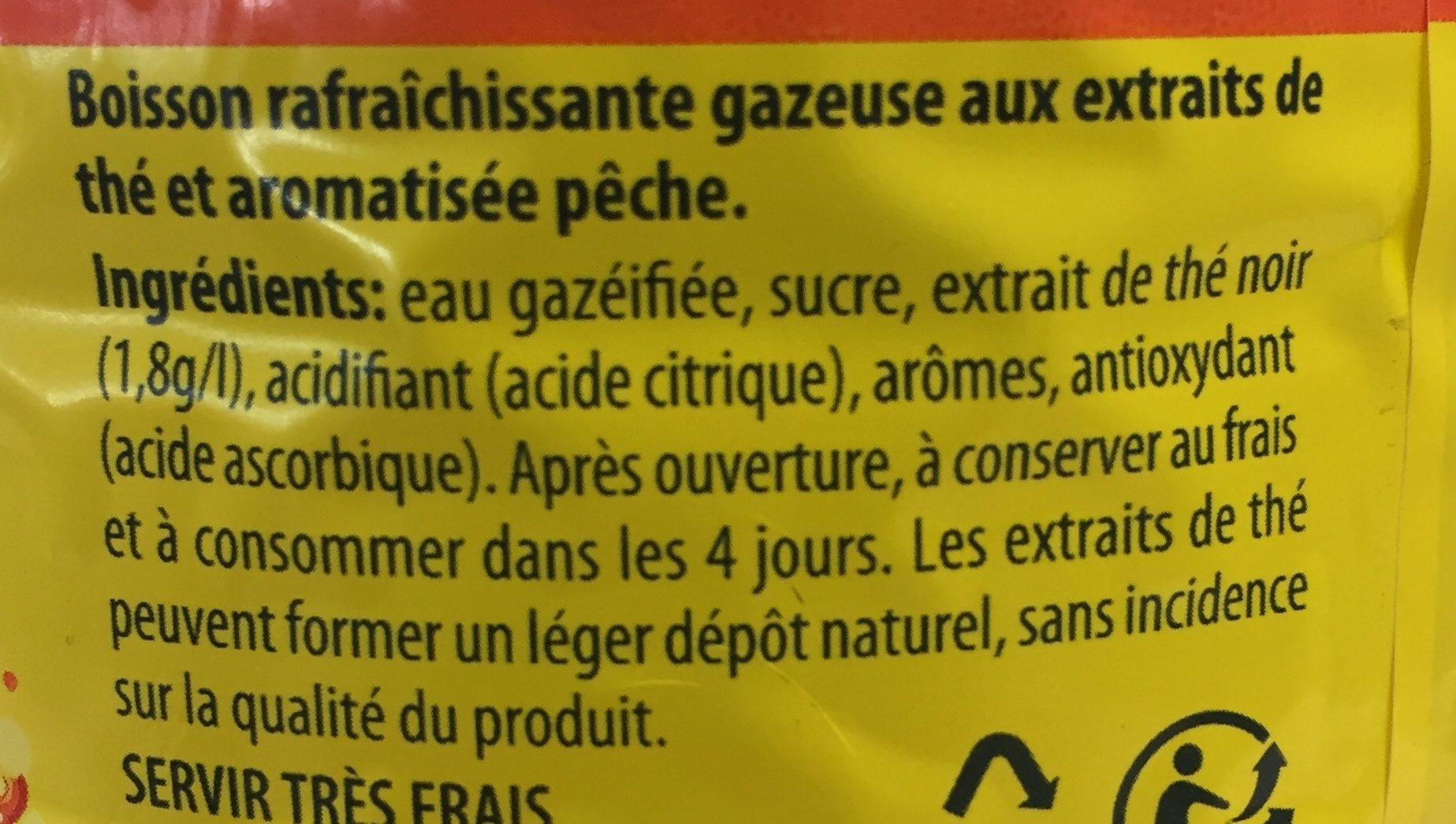 Lipton Liptonic pétillant saveur pêche 1,5 L - Ingrédients - fr