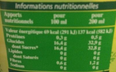 Récoltes Bio Jus de Raisin bio - Informations nutritionnelles - fr