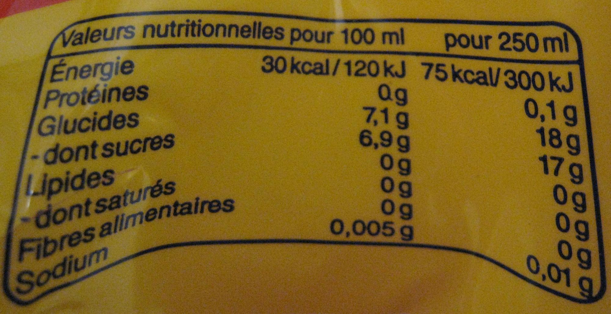 Lipton Ice Tea saveur pêche (lot de 2 x 1,5 L) - Informations nutritionnelles