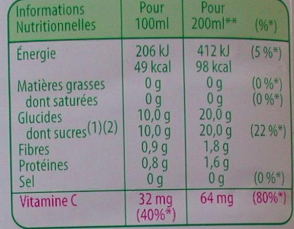 Jus d'orange 100% pulpe Tropicana - Informations nutritionnelles - fr