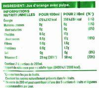 Pure Premium Orange avec Pulpe - Voedingswaarden