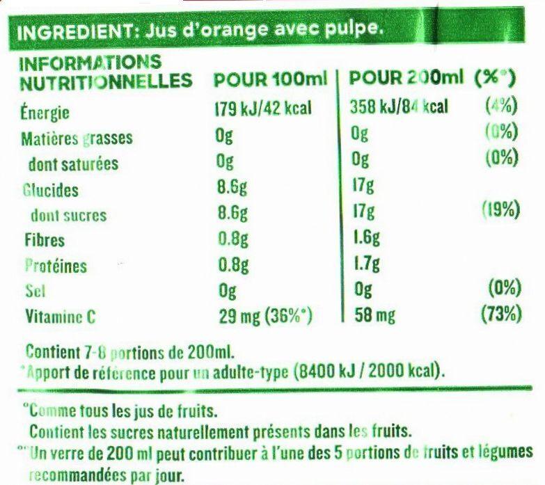 Pure Premium Orange avec Pulpe - Informations nutritionnelles