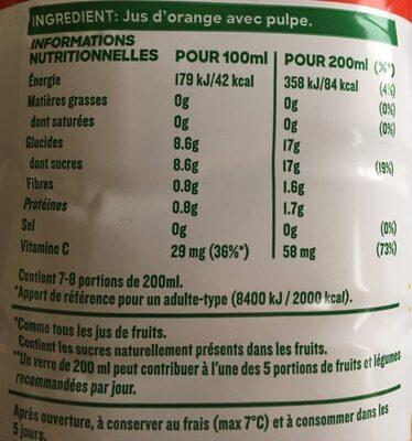 Jus d'orange avec pulpe format familial - Informations nutritionnelles - fr