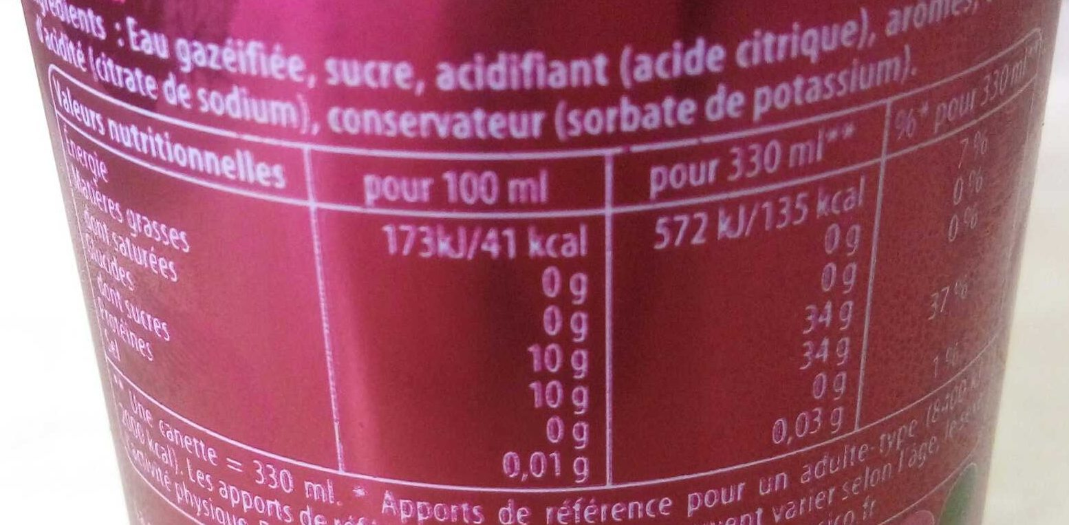 7up Cherry - Nutrition facts