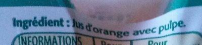 Tropicana Pure premium orange avec pulpe 4 x 25 cl - Ingrédients - fr