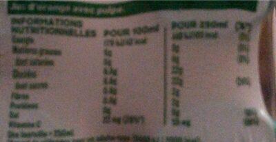 Tropicana Pure premium orange avec pulpe 4 x 25 cl - Informations nutritionnelles - fr