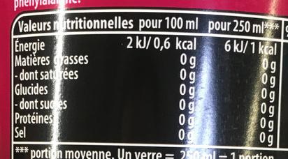 Pepsi Max Cherry* (*saveur cerise) - (0 % sucres) - Informations nutritionnelles