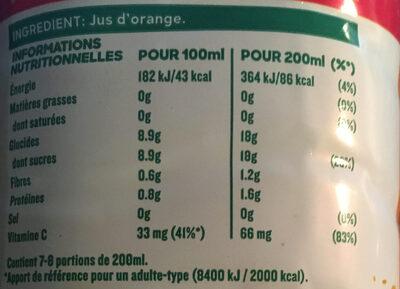 Jus d'orange Pur Premium sans pulpe - Informazioni nutrizionali - fr