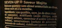 7UP saveur mojito format familial lot de 2 x 1,5 L - Ingredienti - fr