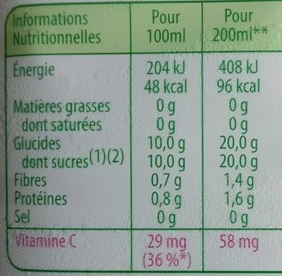 Orange avec pulpe - Nutrition facts