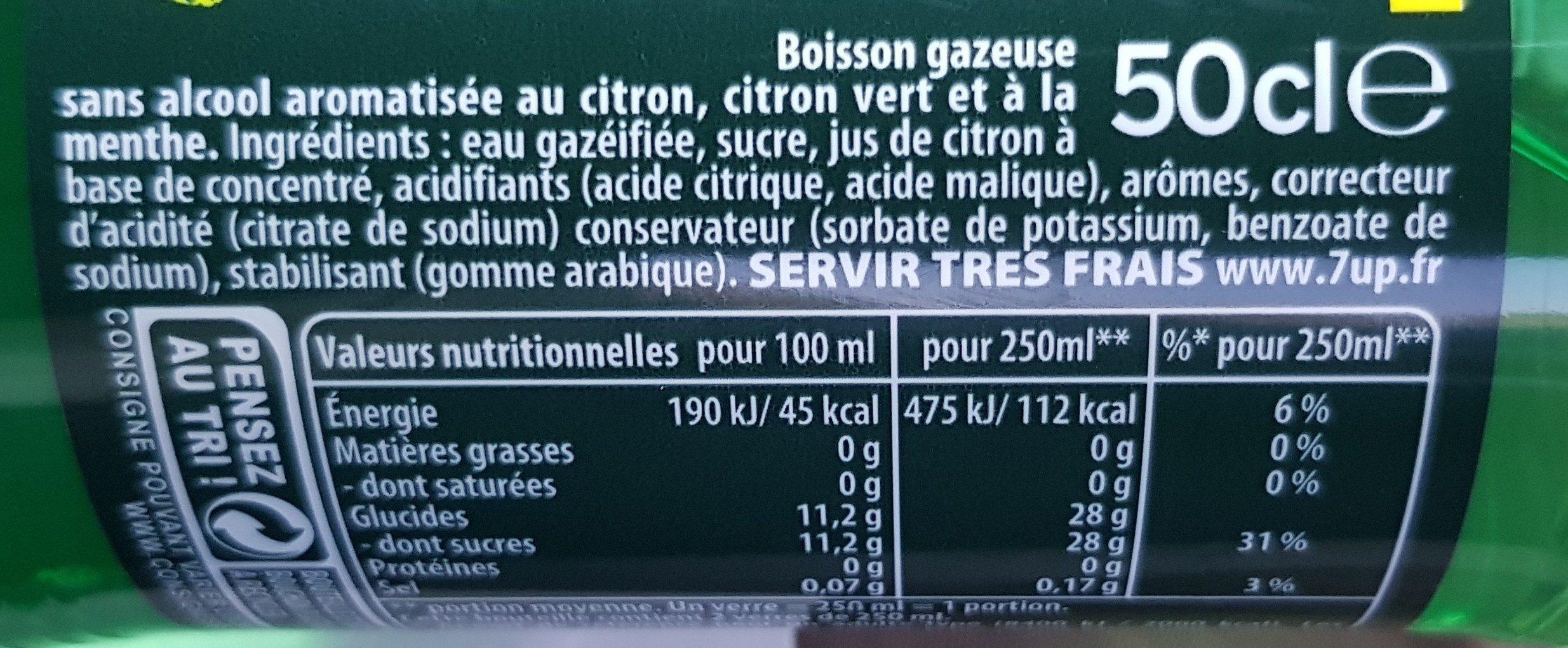 7UP saveur mojito 50 cl - Ingrédients - fr