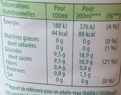Pure Premium Douceur Orange sans Pulpe - Voedingswaarden - fr