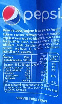 Pepsi (format familial) - Valori nutrizionali - fr
