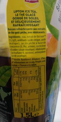 Ice Tea saveur pêche zéro sucres - Nutrition facts - fr
