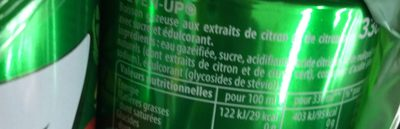 7UP aux Extraits de citron & citron vert 6 x 33 cl - Ingrédients - fr