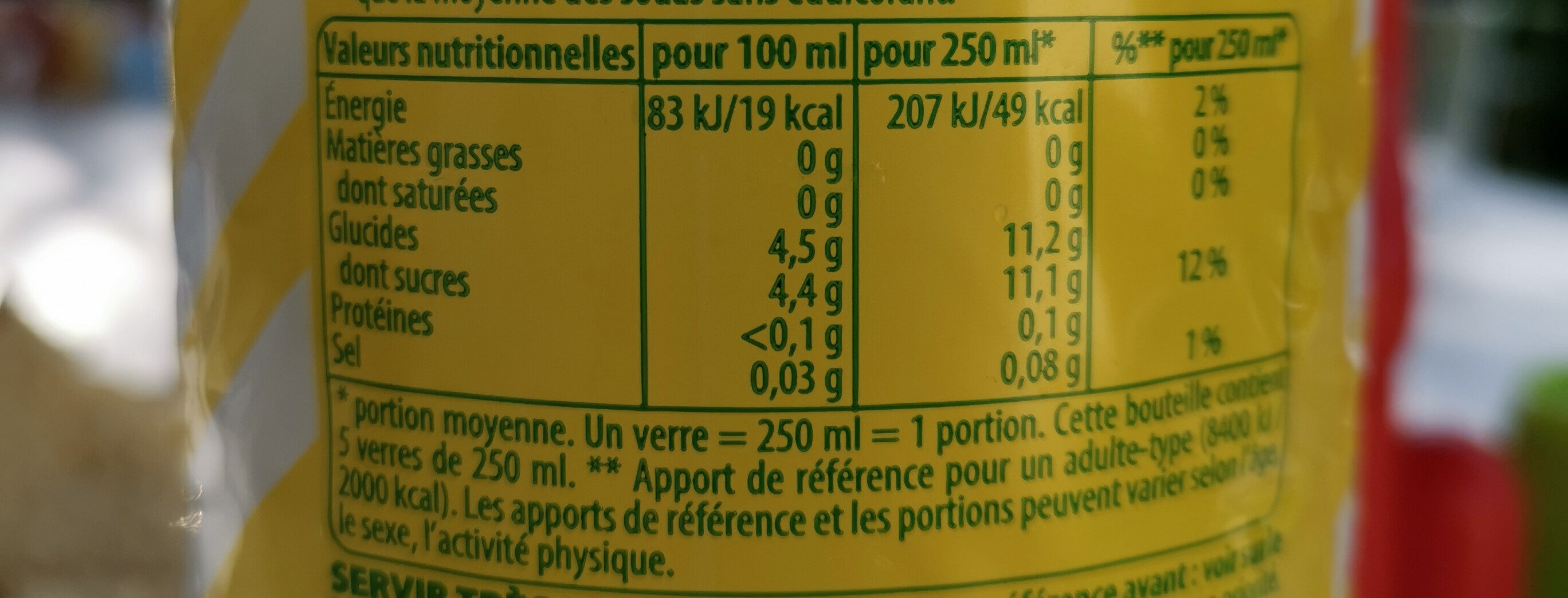 7UP Lemon Lemon Citronnade gazeuse citron 1,25 L - Valori nutrizionali - fr