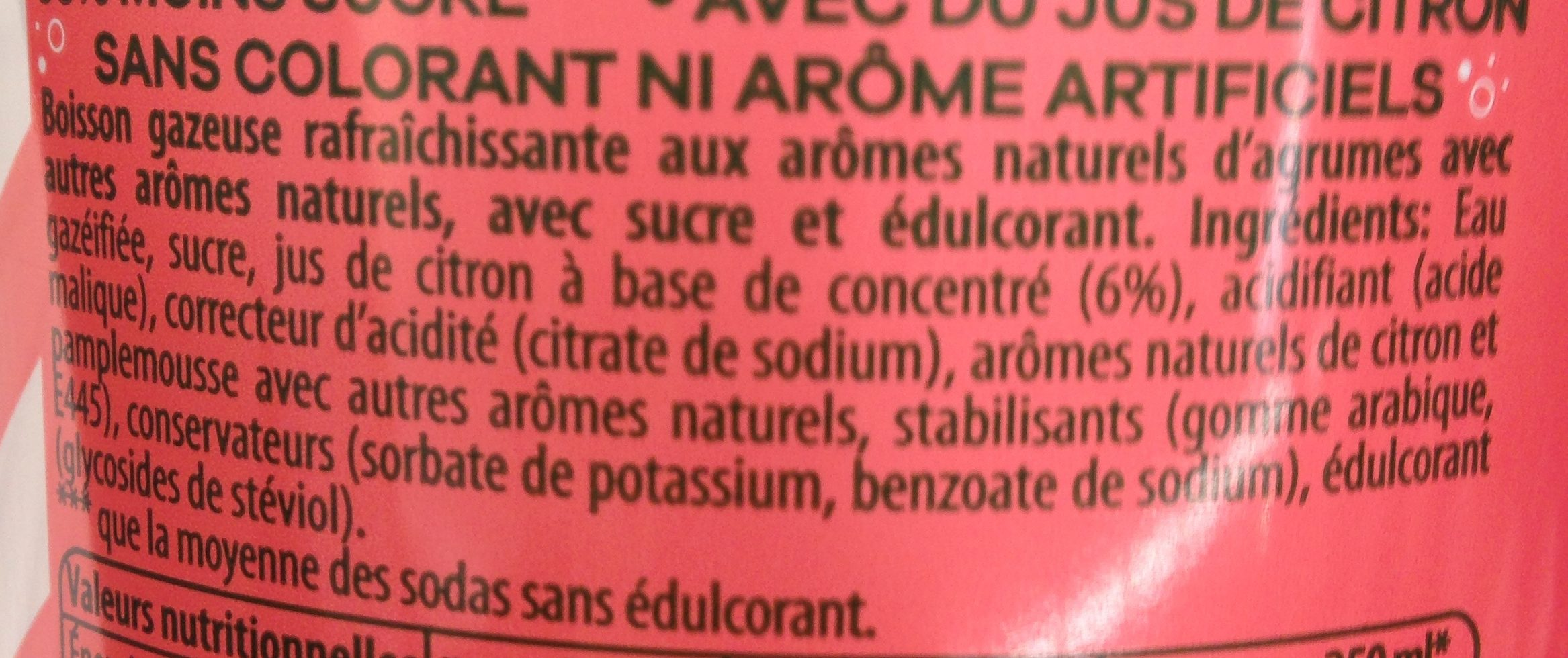 7UP Lemon Lemon Citronnade gazeuse saveur agrumes 1,25 L - Ingredienti - fr