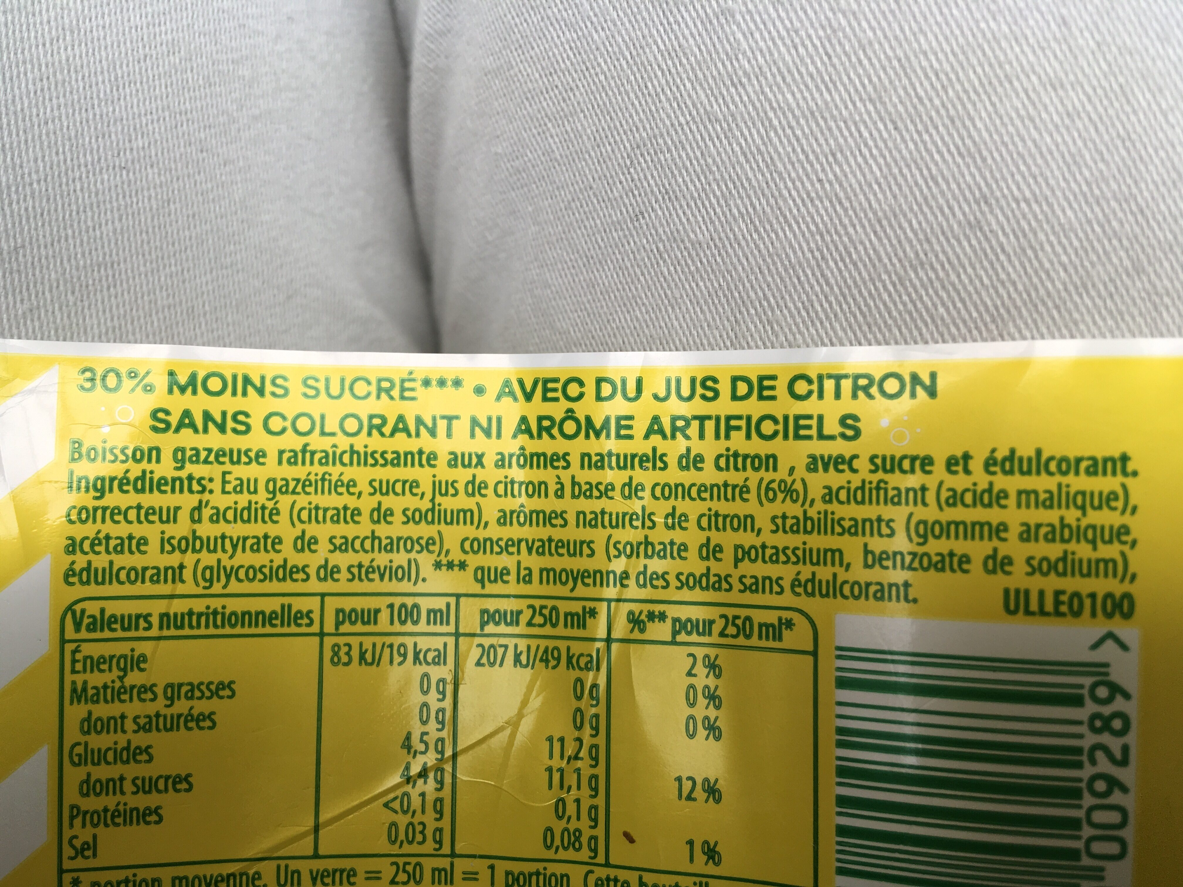 7UP Lemon Lemon Citronnade gazeuse citron - Ingredienti - fr