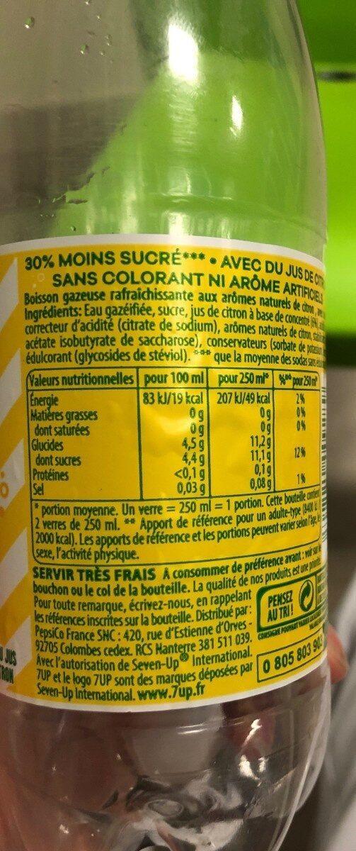 7UP Lemon Lemon Citronnade gazeuse citron - Valori nutrizionali - fr