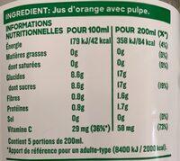 Tropicana Pure premium orange avec pulpe 1 L - Informations nutritionnelles - fr