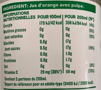 Jus d'orange avec pulpe - Voedingswaarden - fr
