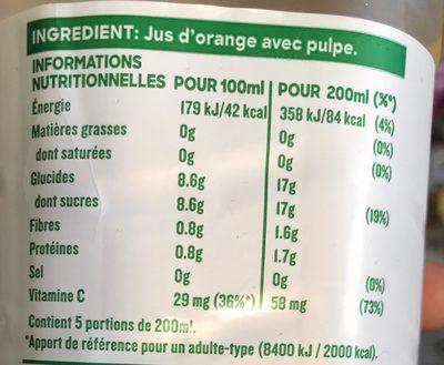 jus d'orange 100% pur jus avec pulpe - Nutrition facts - fr
