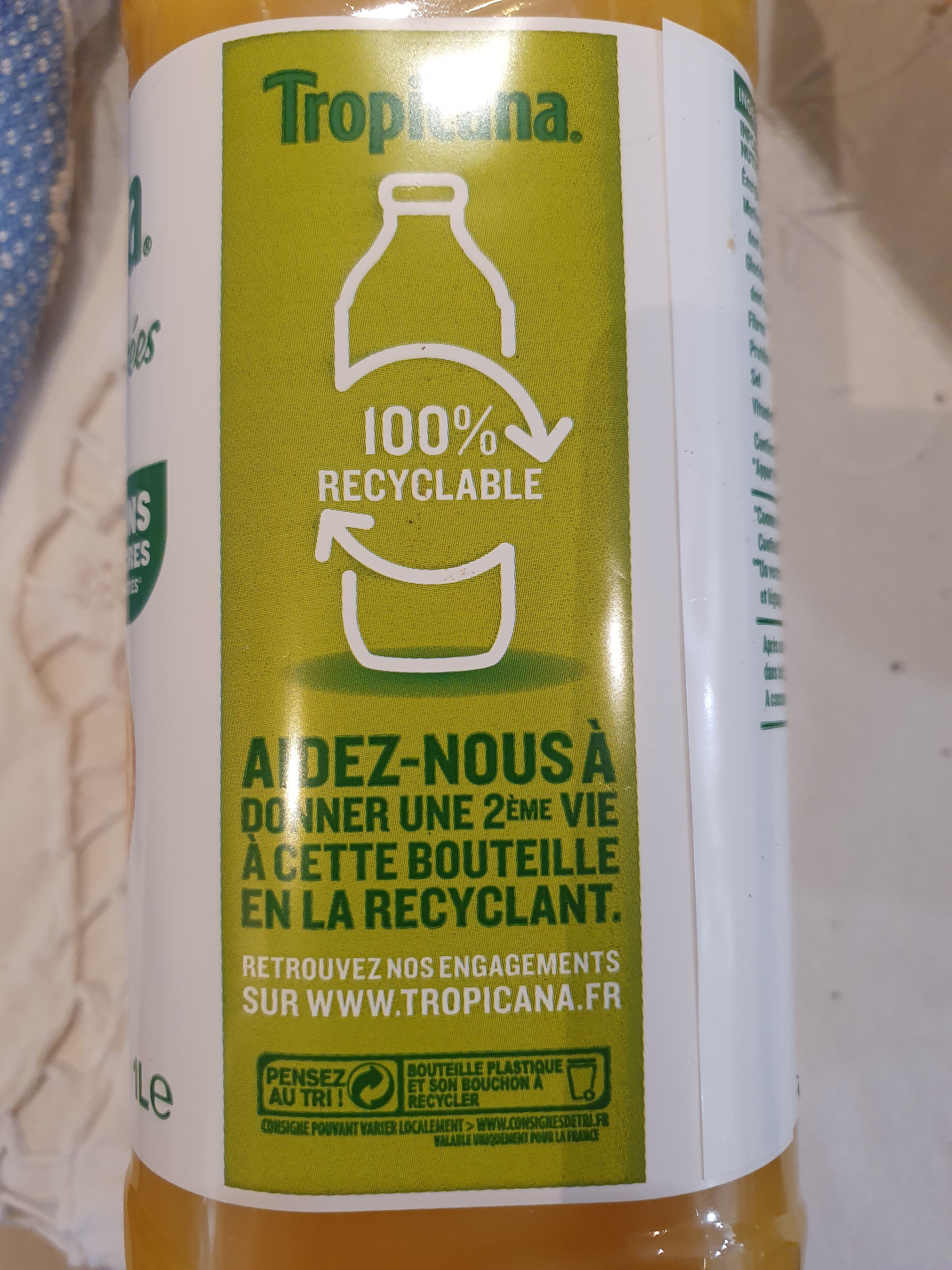 Jus d'orange avec pulpe - Recycling instructions and/or packaging information - fr