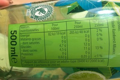 Green ice tea menthe citron vert - Nutrition facts