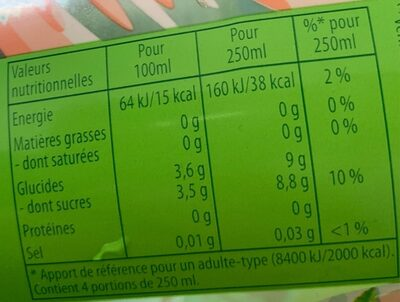 Lipton Green Ice Tea saveur agrume 1 L - Informations nutritionnelles - fr