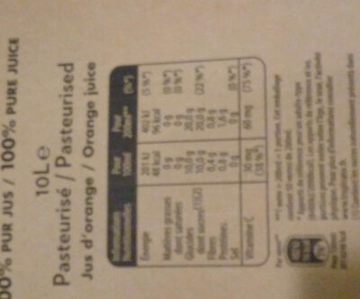 Tropicana orange sans pulpe - Nutrition facts