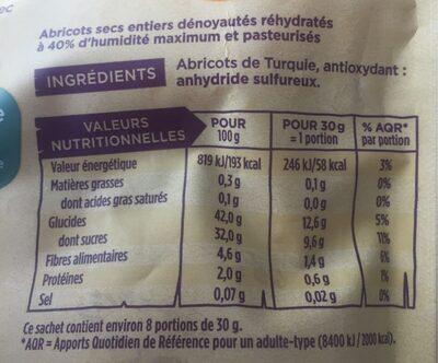 Abricots moelleux - Informations nutritionnelles - fr