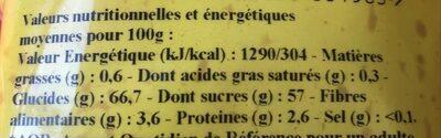 Les Moelleux Raisins Golden - Informations nutritionnelles - fr