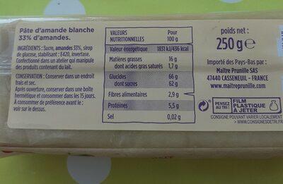 Pâte d'amande - Informations nutritionnelles - fr