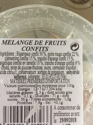 Fruits Confits Assortis - Ingrédients - fr