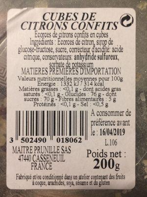 Citrons confits en cubes maitre prunille - Produit - fr