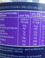 Pistaches Coques Grillées Salées - Informations nutritionnelles - fr