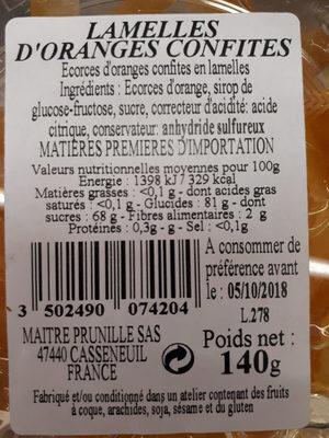 Orange Confites En Lamelles - Produit - fr