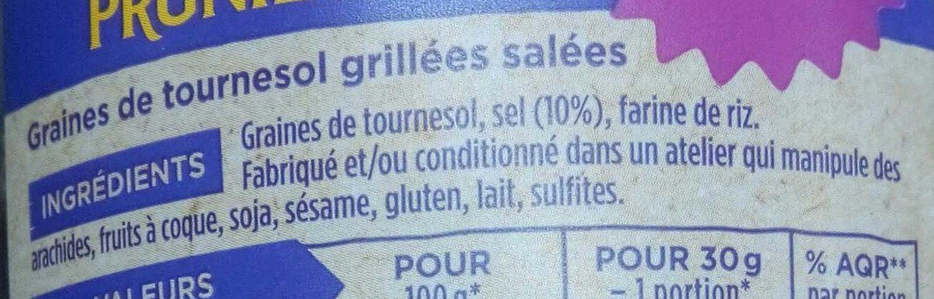 Graines de tournesol grillées salées - Ingredients - fr