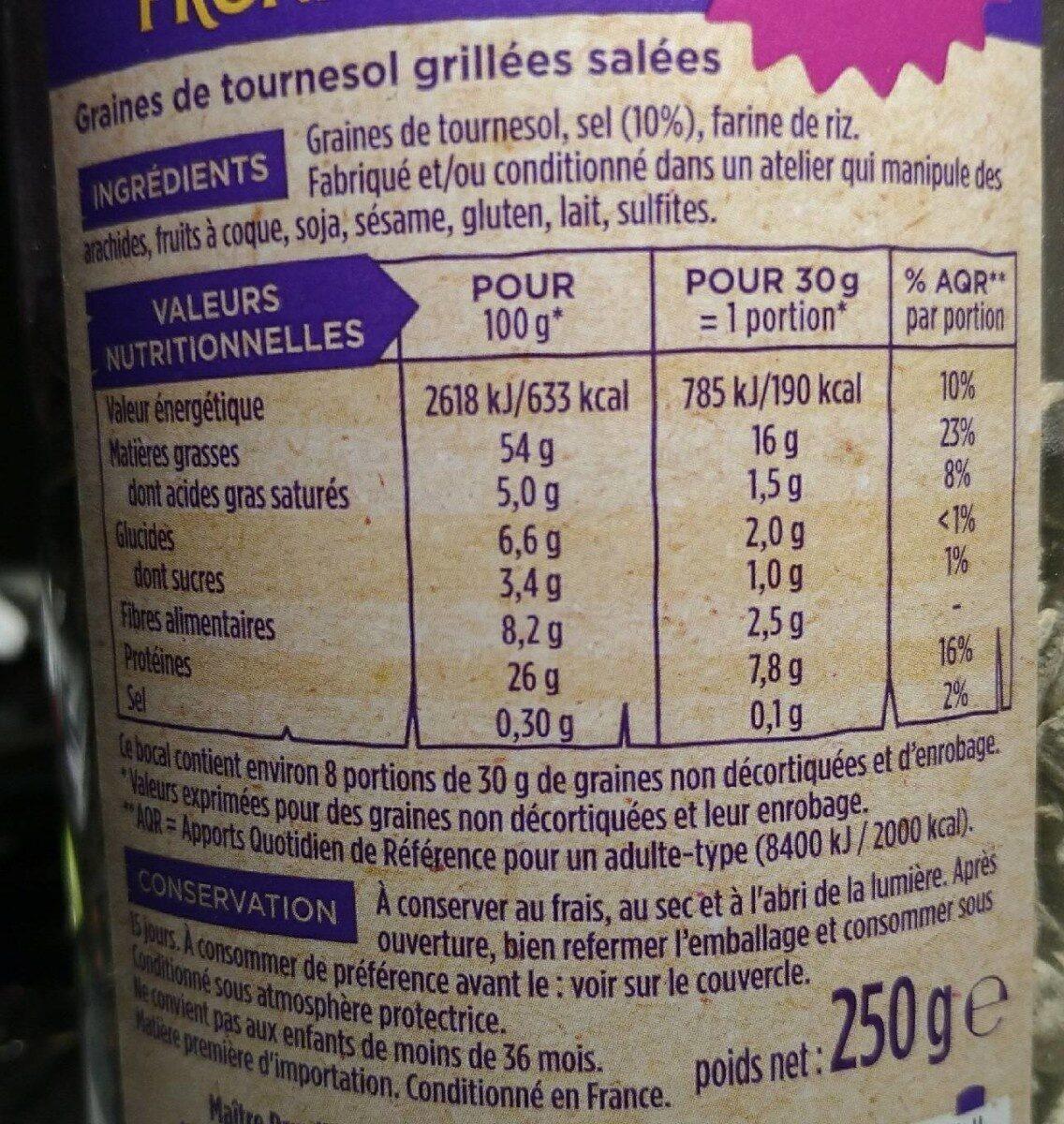 Graines de tournesol grillées salées - Informations nutritionnelles - fr