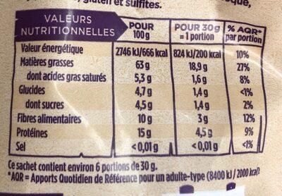 Noisettes décortiquées bio - Informations nutritionnelles - fr