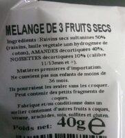 Mélange 3 Fruits Secs - Ingrédients