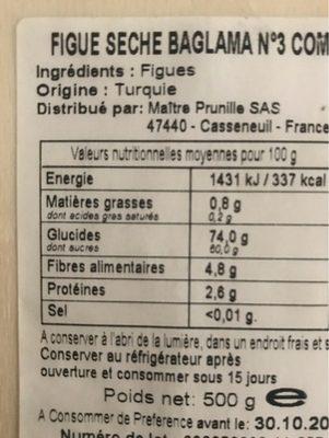 Figues seches baglama n 3 comet - Ingrédients - fr