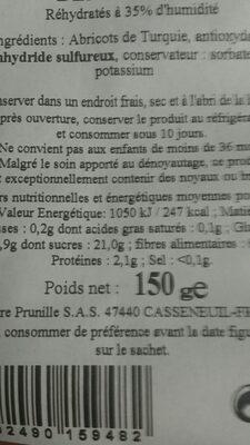 Abricots secs entiers denoyautes - Ingrédients - fr