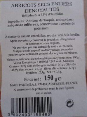 Abricots secs entiers denoyautes - Informations nutritionnelles - fr