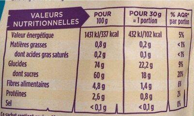 Raisins secs golden - Informations nutritionnelles - fr
