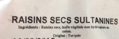 Raisins Secs Sultanines - Ingrédients