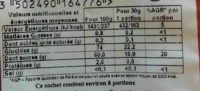 Raisins Secs de Corinthe - Informations nutritionnelles